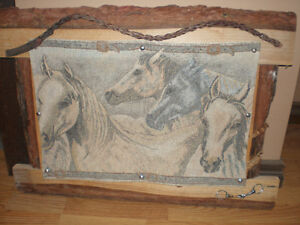 """The herd"" tapestry on wood frame"