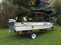 14ft aluminium boat, motor, and trailer