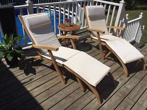 TEAK ~ Luxurious Pool Side Fully Reclining Lounge Chair Set!