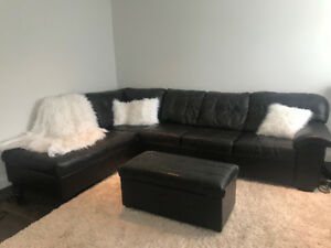 Leather Sectional Couch and Ottoman-$100.00!