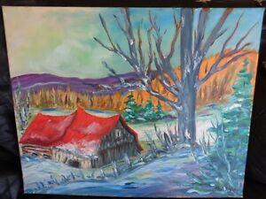 tableau/ toile signée à l huile paysage de campagne Guy  Morest