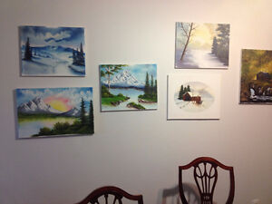 7 oil paintings on canvas - local artist