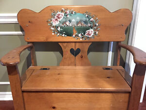 Country Bench and Matching Mirror