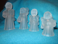 Set of 4 frosted glass Angel candle holders.  Vintage 1980's