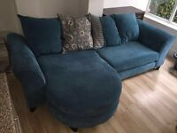 4 seater pillow back sofa with footrest (barely used!)