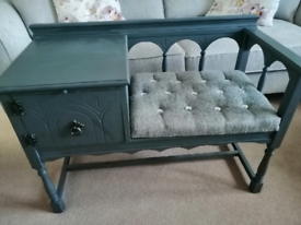 Vintage Chippy Telephone Table Hand Painted in Grey
