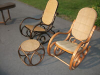 Two Bentwood Rockers - One Cane, One Cushion w Cane Stool