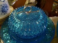 Covered  Blue glass Candy dish