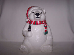 Coca-Cola Christmas Polar Bear Holiday Cookie Jar 1996 Coke