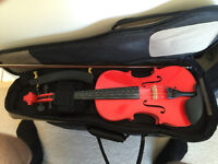 Red 4/4 Student Violin with case, bow, and chin rest