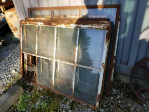 6 old factory  iron  window frames