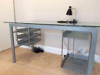 Glass top metal frame desk