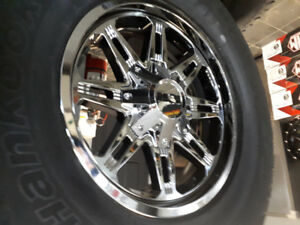 4 new CHROME 18X9 RIMS WITH new HANKOOK ATM FIts ram and toyota