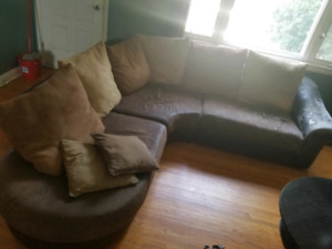 3 piece Microfibe and Faux Leather Sectional