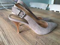 Nude/Beige Suede Heels, UK 5.5