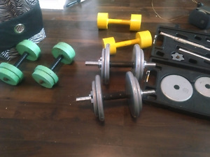 Dumbbells and bar with weights