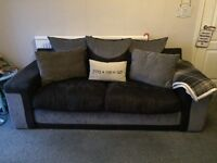 Grey and black sofa and chair