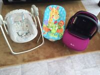 Car seat and 2 baby bouncers