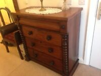 Large antique mahogany Scottish chest of drawers
