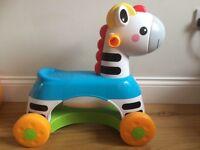 Zebra ride on baby toy