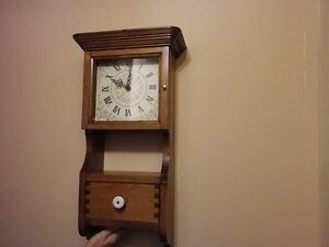 **Hand Crafted Wooden Wall Clock with Drawer.. Made in Canada**
