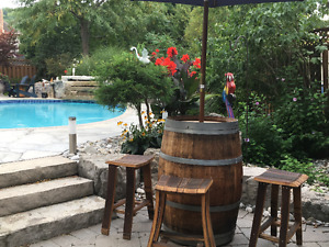 Wine or Whiskey Barrel with Umbrella