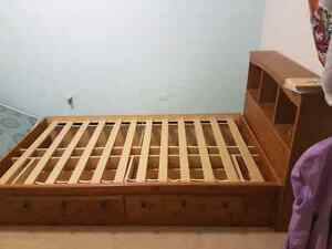 Twin Captains Bed with 2 large Drawers and Bookcase Headboard Regina Regina Area image 2