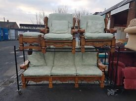 Wooden framed fabric 3 Seater Sofa with 2 armchairs and pouffe