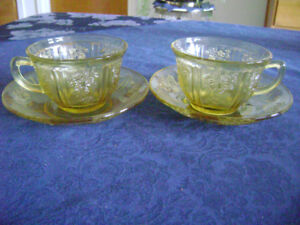Two antique teacups-green