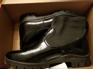 Ladies Black Leather Ankle Boots New