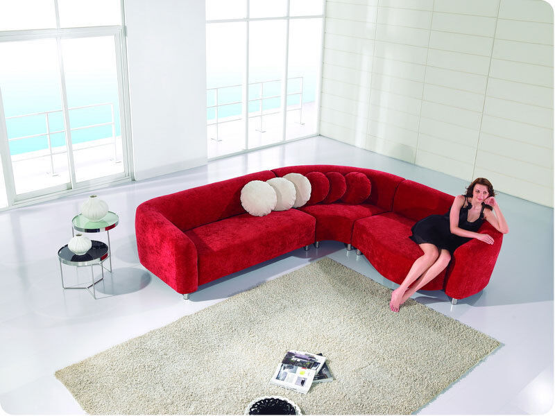 Modern L Shape Red Sectional Sofa Chaise set EFS10