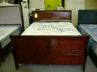 New double size sleigh bed. Head board foot board and rails.$399