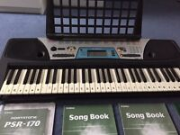 Yamaha PSR 170 keyboard, stand and tuition books
