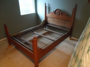Antique oak double bed frame with spring platform