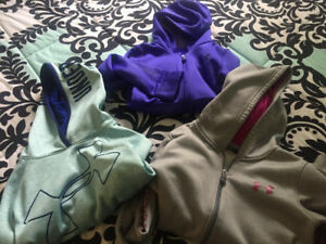 3 small girls Under Amour hoodies