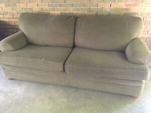 Olive green couch and chair