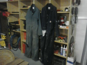Construction work clothes and boots. harnesses and lanyards