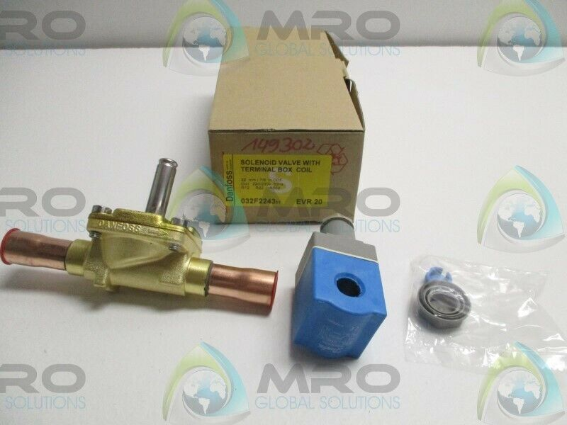 DANFOSS EVR20 032F224331 SOLENOID VALVE W/ TERMINAL BOX COIL * NEW IN BOX *