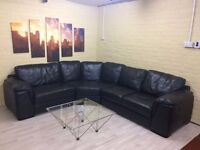 Comfy Black Leather Corner Sofa