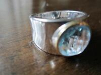 Ladies sterling silver blue stone ring