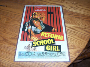 Reform School Girl Movie Poster 12 by 16 In hard plastic frame.