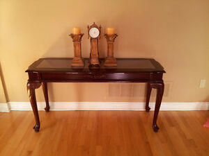 Solid wooden carved glass top hallway entrance console table London Ontario image 1