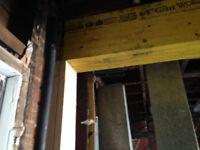 Load bearing beams LVLs installed posts framing open concept