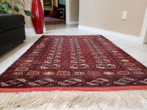 Stunning Hand Knotted Raw Silk and Wool Persian Carpet - $400