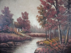 New England Fantasy Oil Painting by Joseph Collazzi 1930's Stratford Kitchener Area image 3