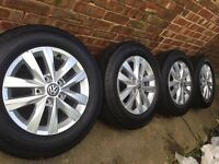 "Brand New 16"" Genuine 2016 VW Transporter T5 T6 alloy wheels +NEW Continental 215/65/16 tyres"