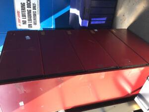 Red metallic filing cabinet