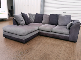 Black and grey fabric Corner soda couch, suite 😂🚚