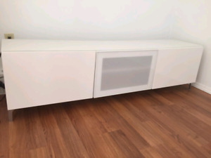 IKEA almost new white TV stand with top glass