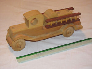 Reduced - Hand-crafted Wooden Hook-and-Ladder Fire Truck model Edmonton Edmonton Area image 1